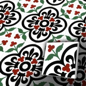 Zementfliesen antik, historischer Baustoff | Retro-Fliesen | Jugendstil | Muster V20-052-A | Ventano