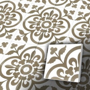 Zementfliesen antik, historischer Baustoff | Retro-Fliesen | Jugendstil | Muster V20-052-B | Ventano