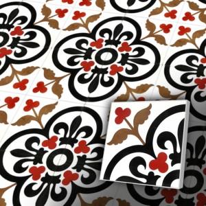 Zementfliesen antik, historischer Baustoff   Retro-Fliesen   Jugendstil   Muster V20-052-B-a   Ventano