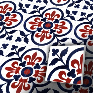 Zementfliesen antik, historischer Baustoff   Retro-Fliesen   Jugendstil   Muster V20-052-C-a   Ventano
