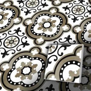 Zementfliesen antik, historischer Baustoff | Retro-Fliesen | Vintage | Muster V20-134-a | Ventano