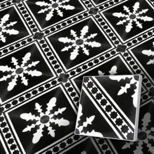 Zementfliesen antik, historischer Baustoff | Retro-Fliesen | Dekor | Design V20-424-a | Ventano
