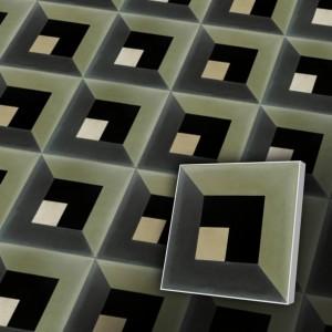 Zementfliesen antik, historischer Baustoff | Retro-Fliesen | Stylisch | Muster V20-C2-C | Ventano