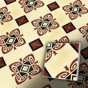 Zementfliesen antik, historischer Baustoff | Retro-Fliesen | Jugendstil | Muster V20-C2-I | Ventano