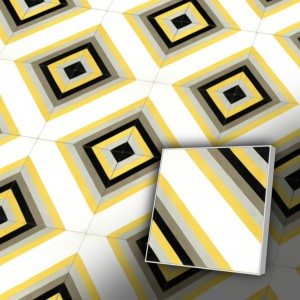 Zementfliesen antik, historischer Baustoff | Retro-Fliesen | Maurisch | Muster V20-C2-M | Ventano