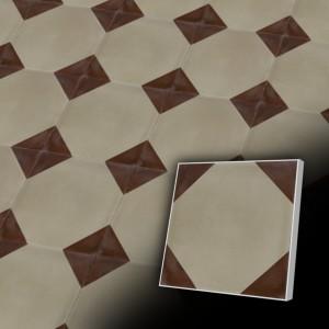 Zementfliesen antik, historischer Baustoff | Retro-Fliesen | Design V20-406-A | Ventano