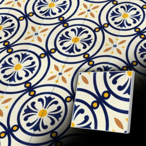 Zementfliesen antik, historischer Baustoff | Design-Fliesen | Dekor | Design V20-651-A | Ventano