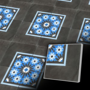 Zementfliesen antik, historischer Baustoff | Retro-Fliesen | Historisch | Design V20C-038-B | Ventano